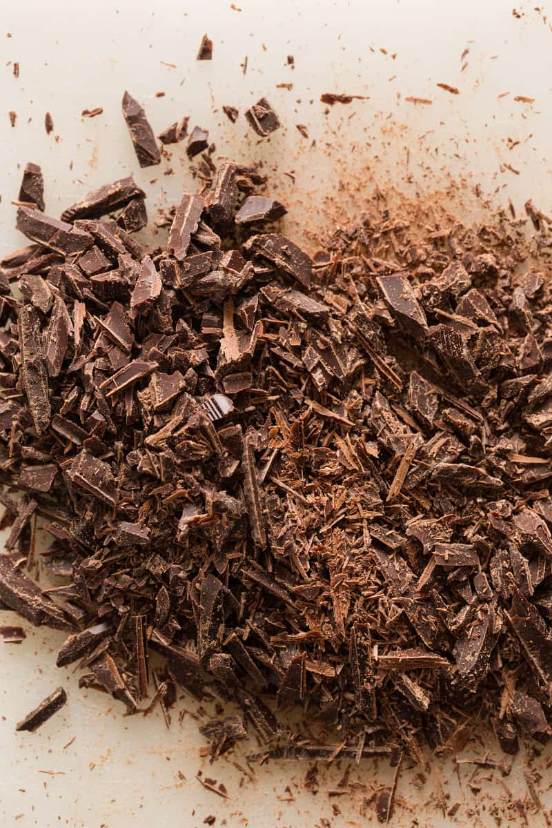 Chopped chocolate for drinking chocolate