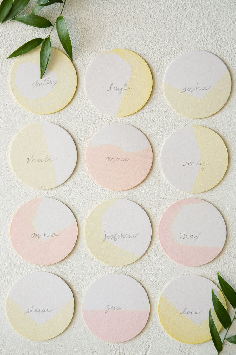 DIY dip dye place cards.