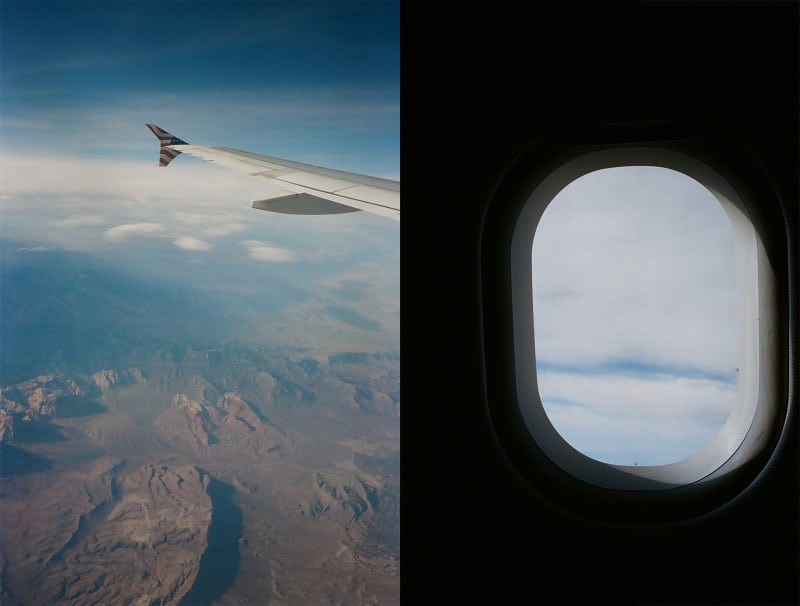 A split photo of a view of an airplane and from the window.