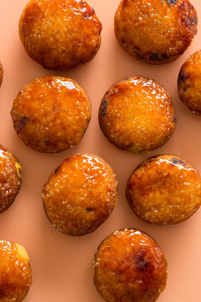 A close up of pumpkin crème brûlée doughnuts.