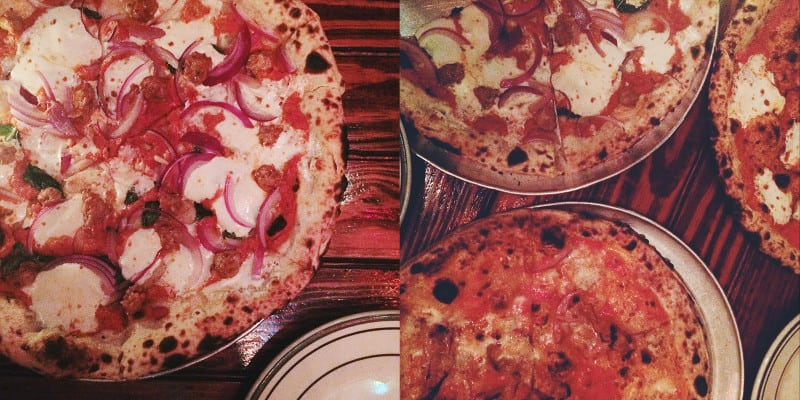 A split photo of close up photos of pizzas.