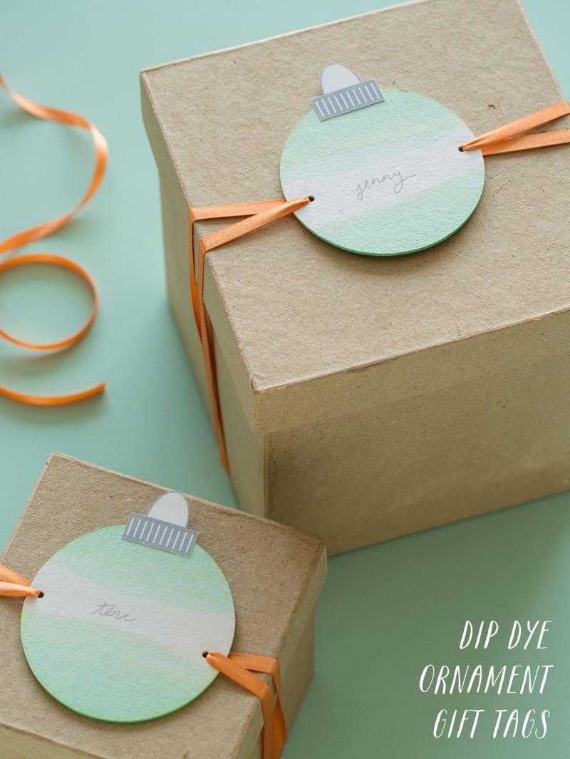 Dip Dye Ornament Gift Tags