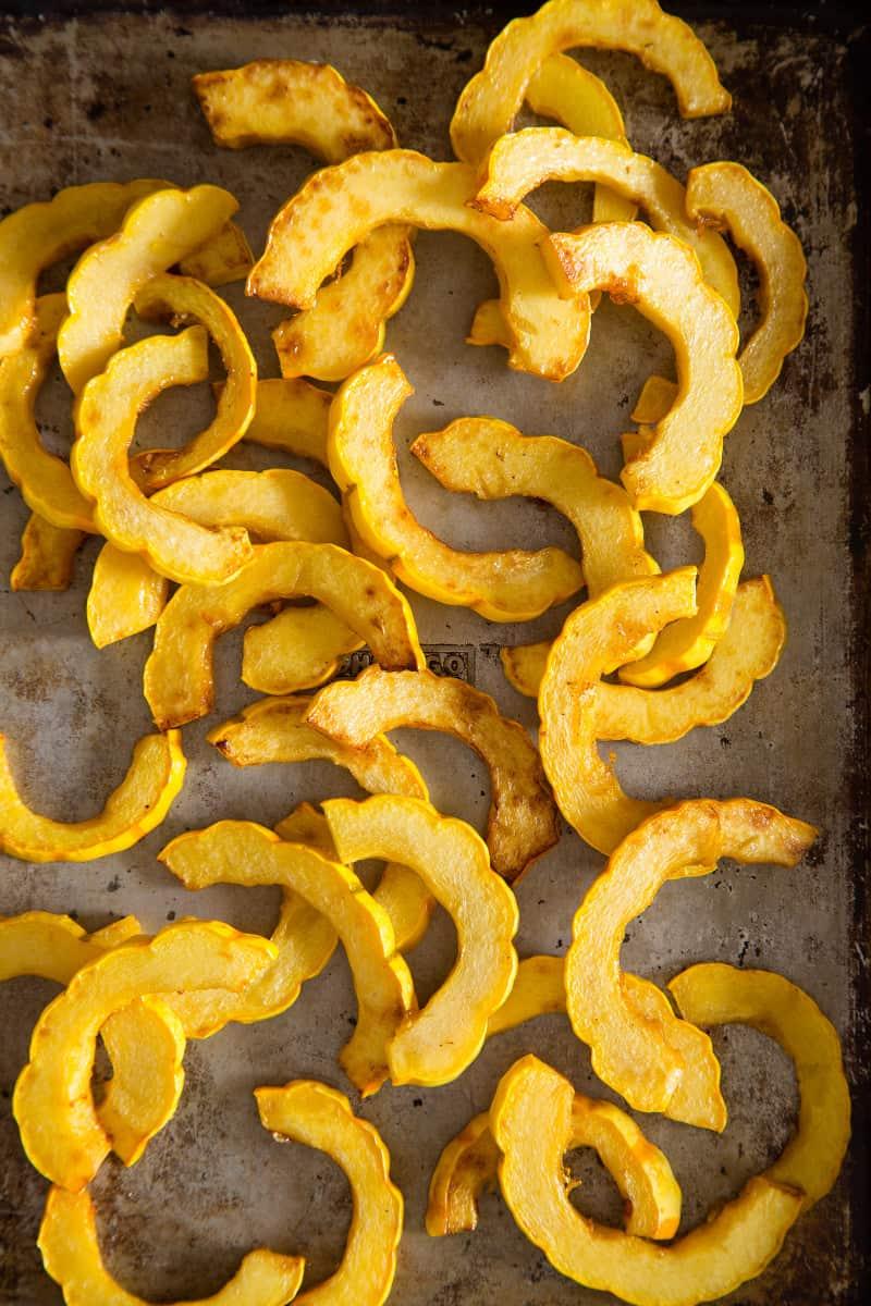 A close up of honey roasted delicata squash.