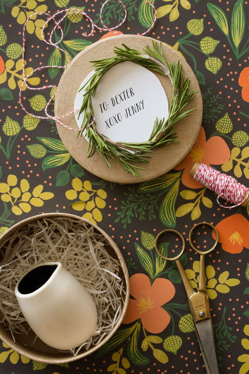 Rosemary Wreath Gift Toppers DIY