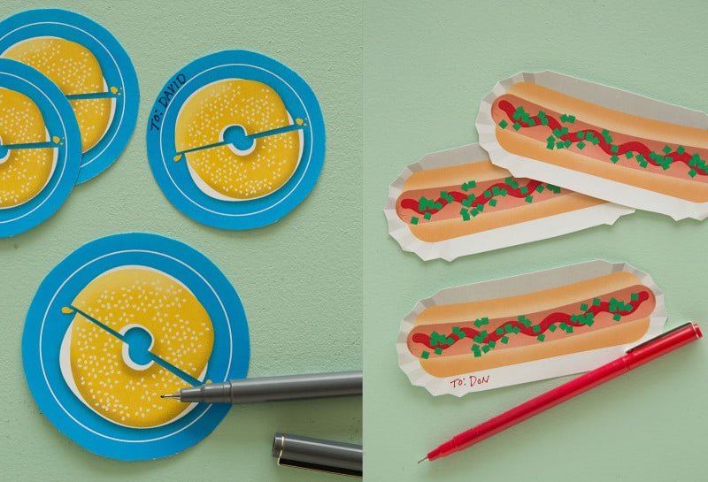 A split photo of bagel and hotdog printable food gift tags with pens.