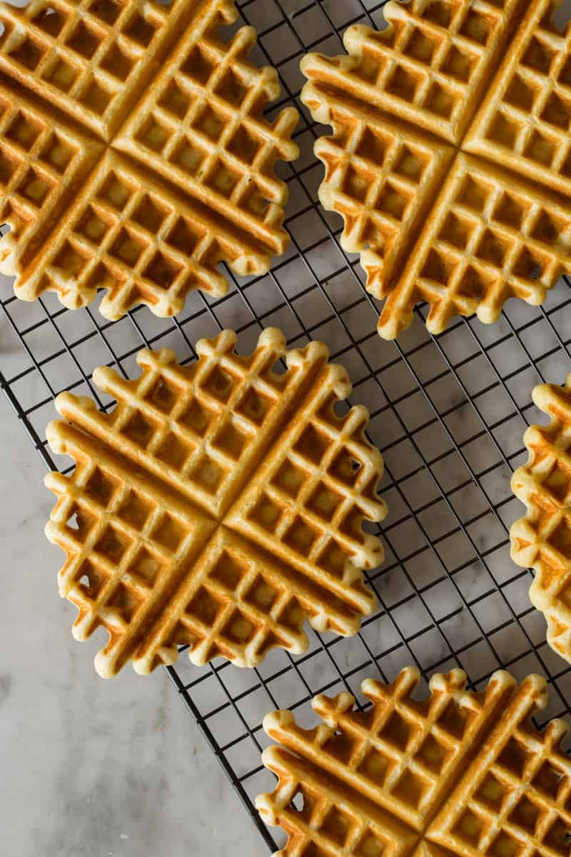 Waffles on a wire rack.