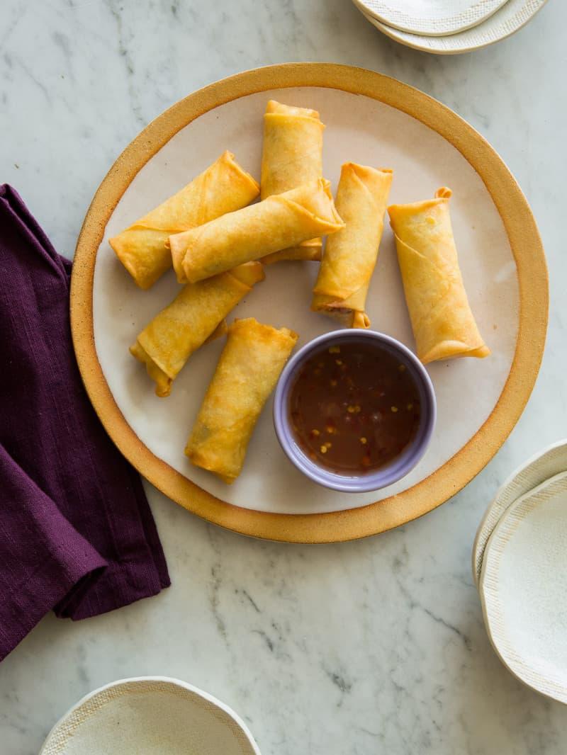 Vietnamese Style Pork And Shrimp Egg Rolls Spoon Fork Bacon