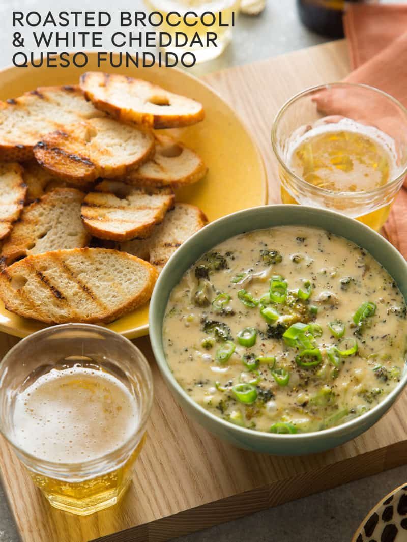 Roasted Broccoli and White Cheddar Queso Fundido