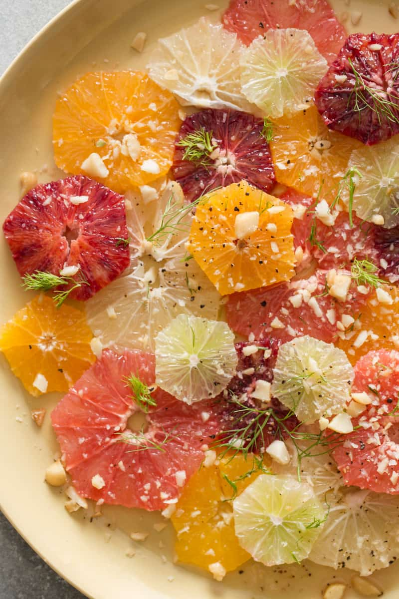 A close up of citrus and fennel salad.