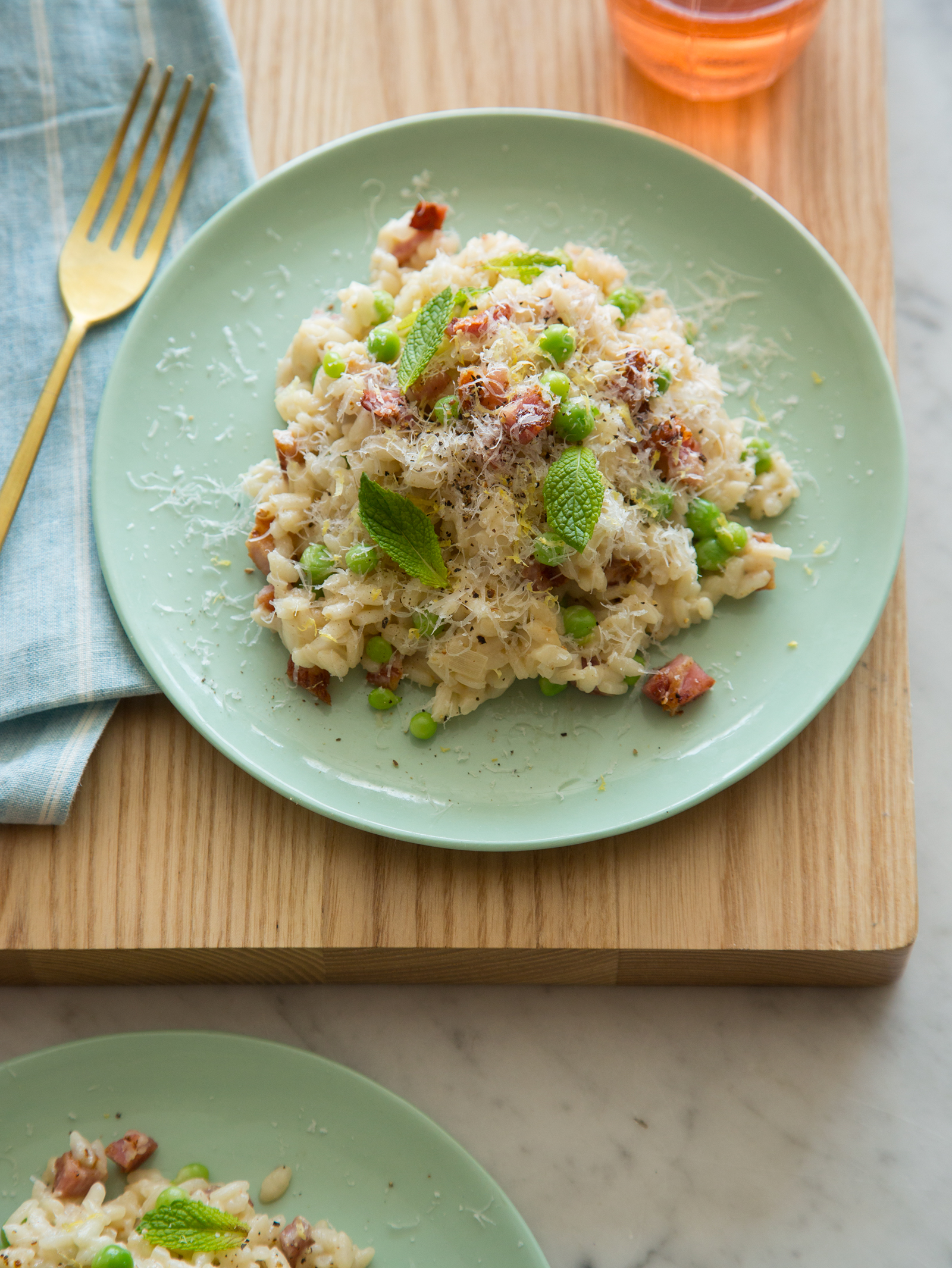 english pea mint and bacon risotto spoon fork bacon