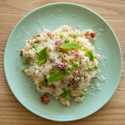 English Pea Mint and Bacon Risotto | Spoon Fork Bacon