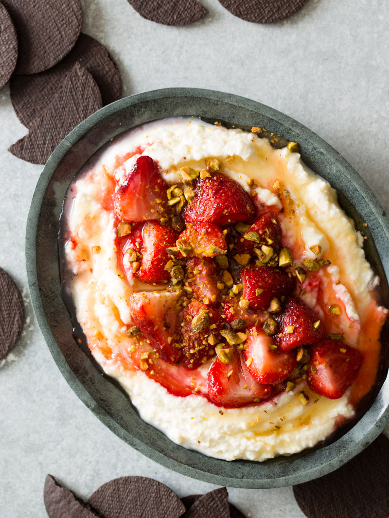 Roasted Strawberries over Honey Whipped Ricotta