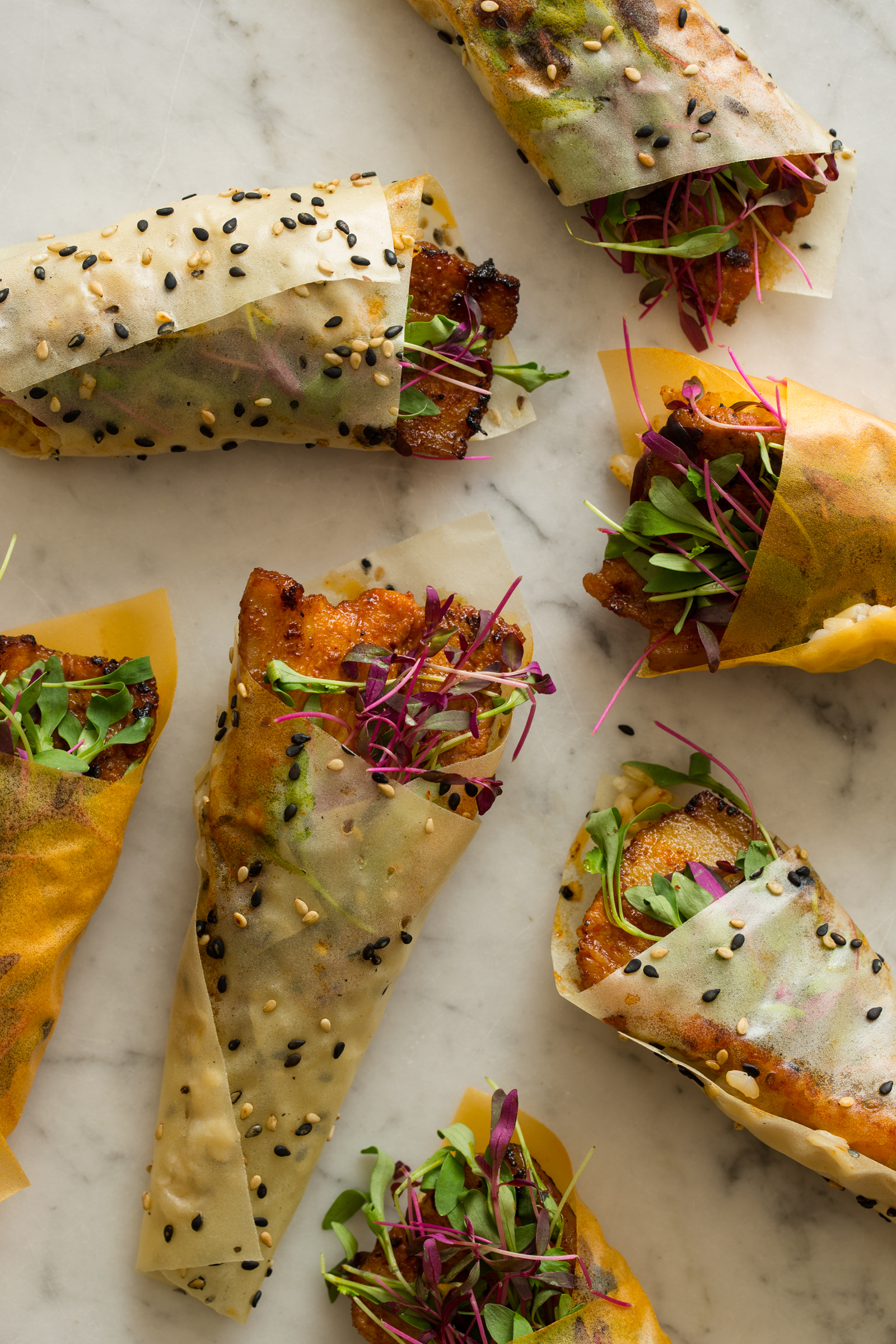 Spicy Marinated Pork Belly Hand Rolls | Spoon Fork Bacon