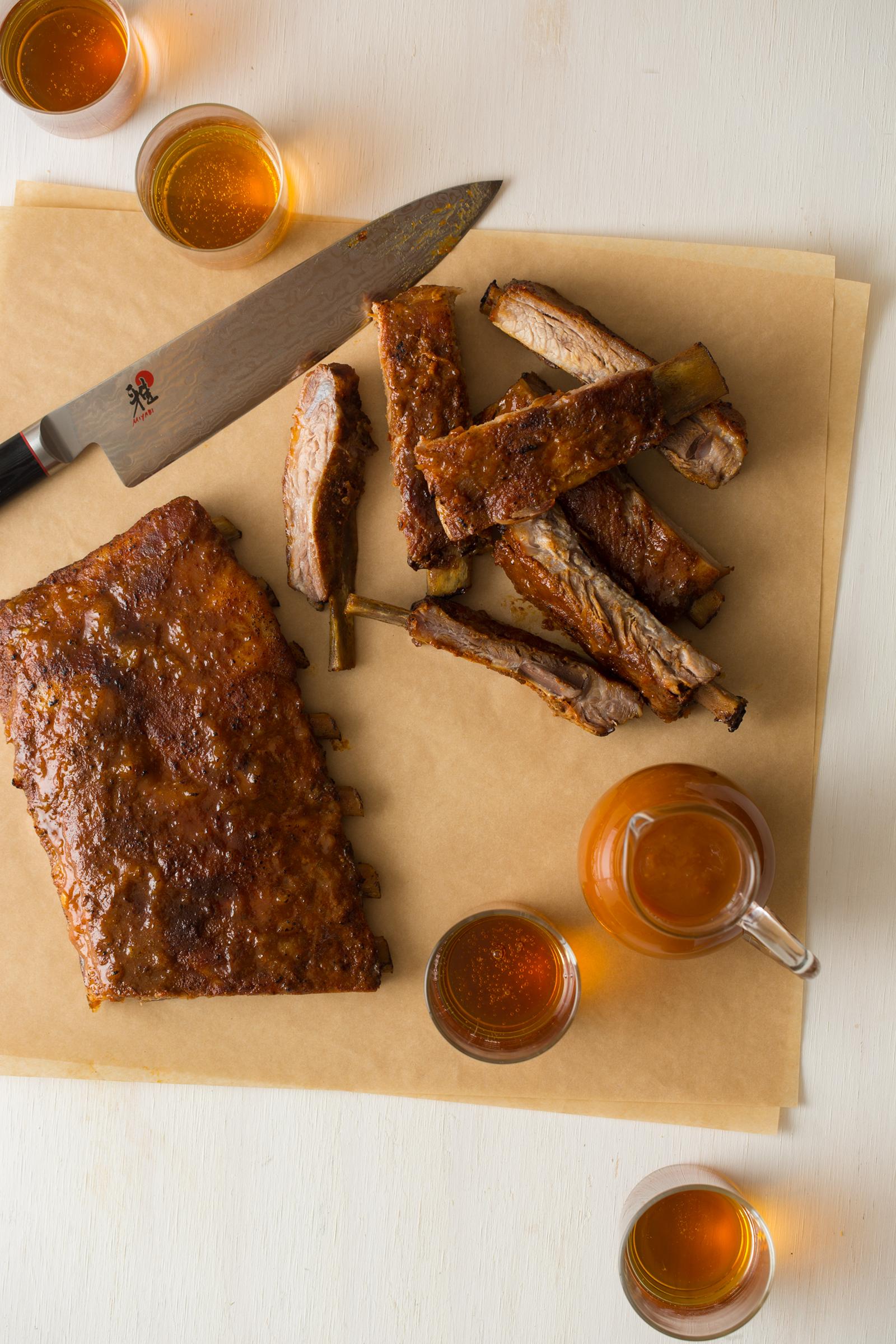 Mango Habanero Glazed Spare Ribs Spoon Fork Bacon