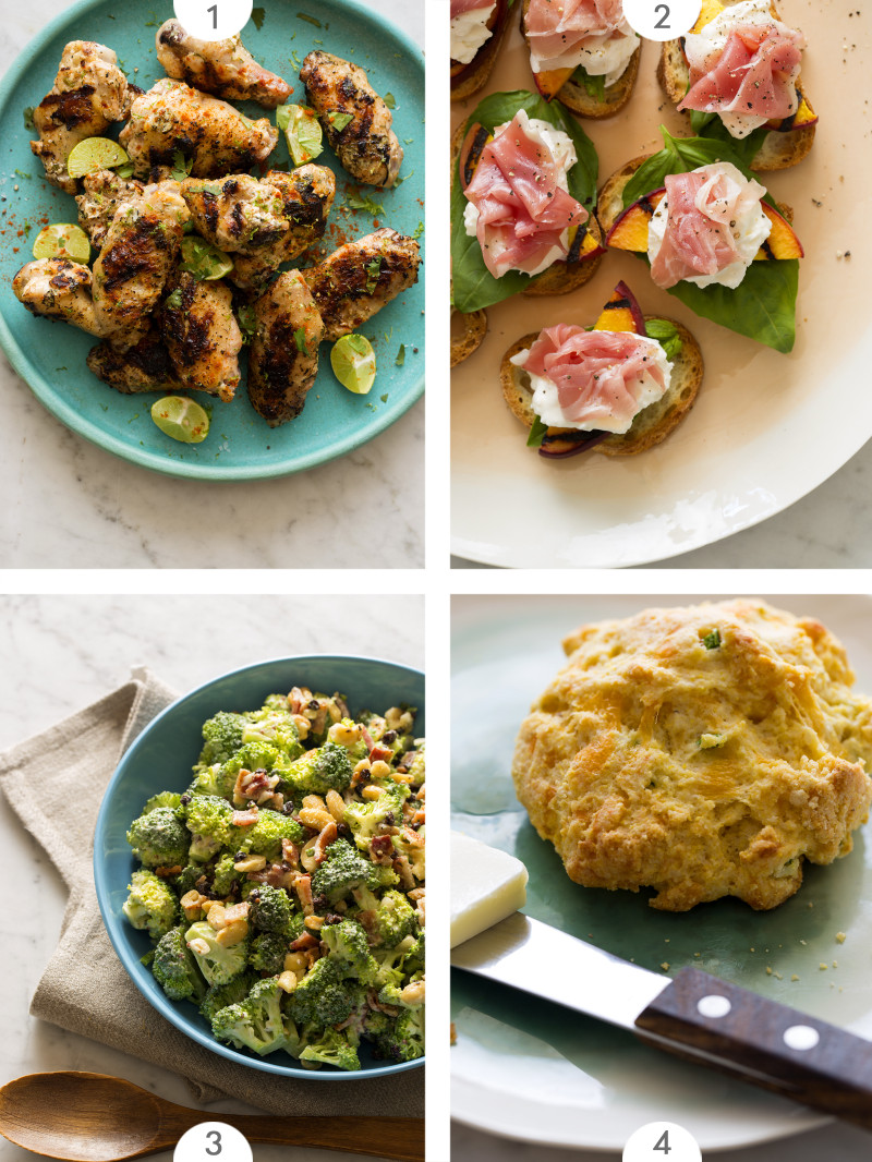 Four photo grid of Summer BBQ recipes.