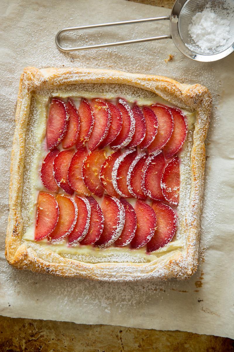 A finished stone fruit tart.