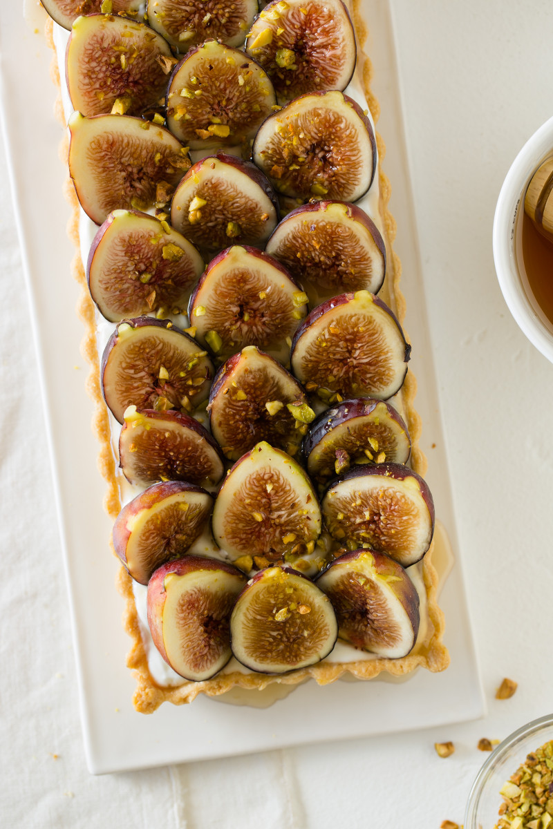 fig and honey yogurt tart spoon fork bacon
