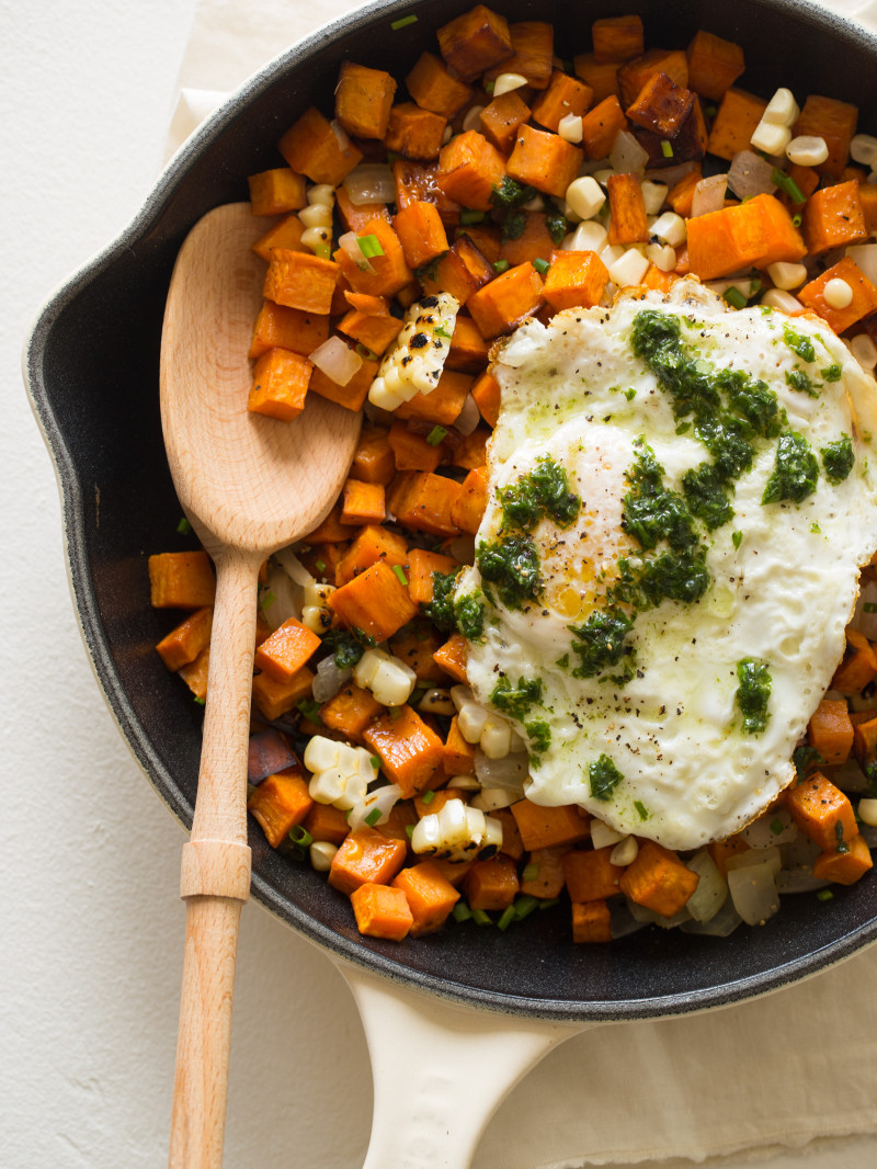 Sweet Potato and Corn Hash with a Basil Vinaigrette | Spoon Fork Bacon