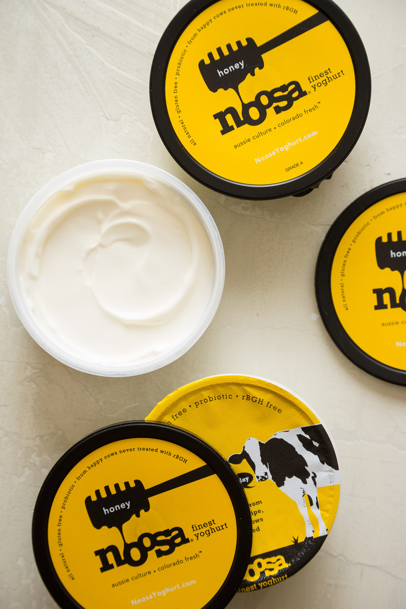 Noosa honey yoghurt containers, packaging and yogurt.