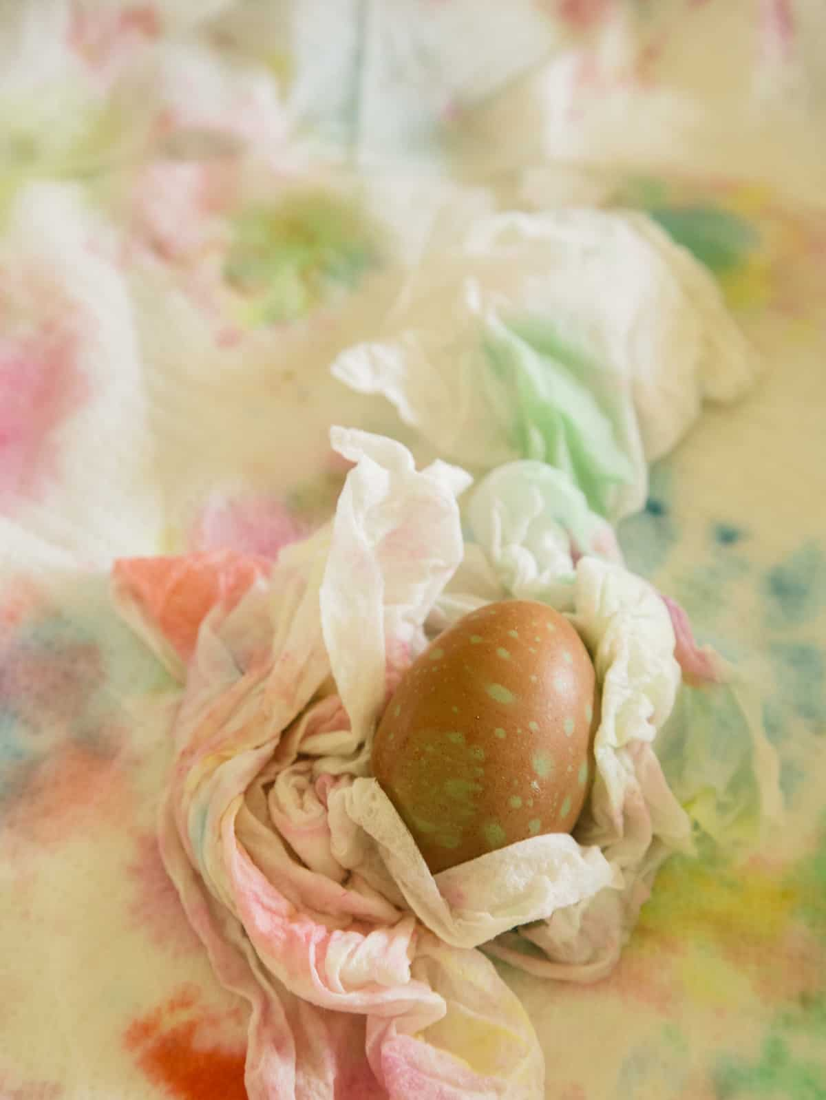 A close up of a finished spotted dyed egg resting in a paper towel.