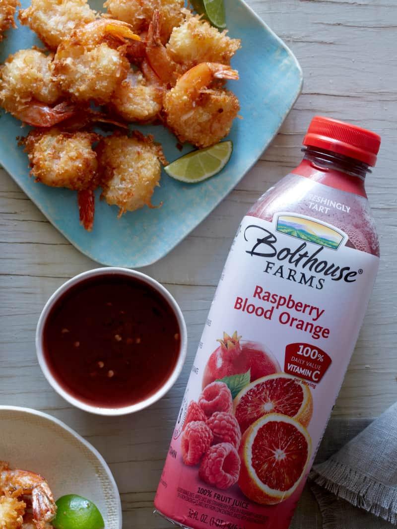Coconut Shrimp with Raspberry Blood Orange Chile Sauce