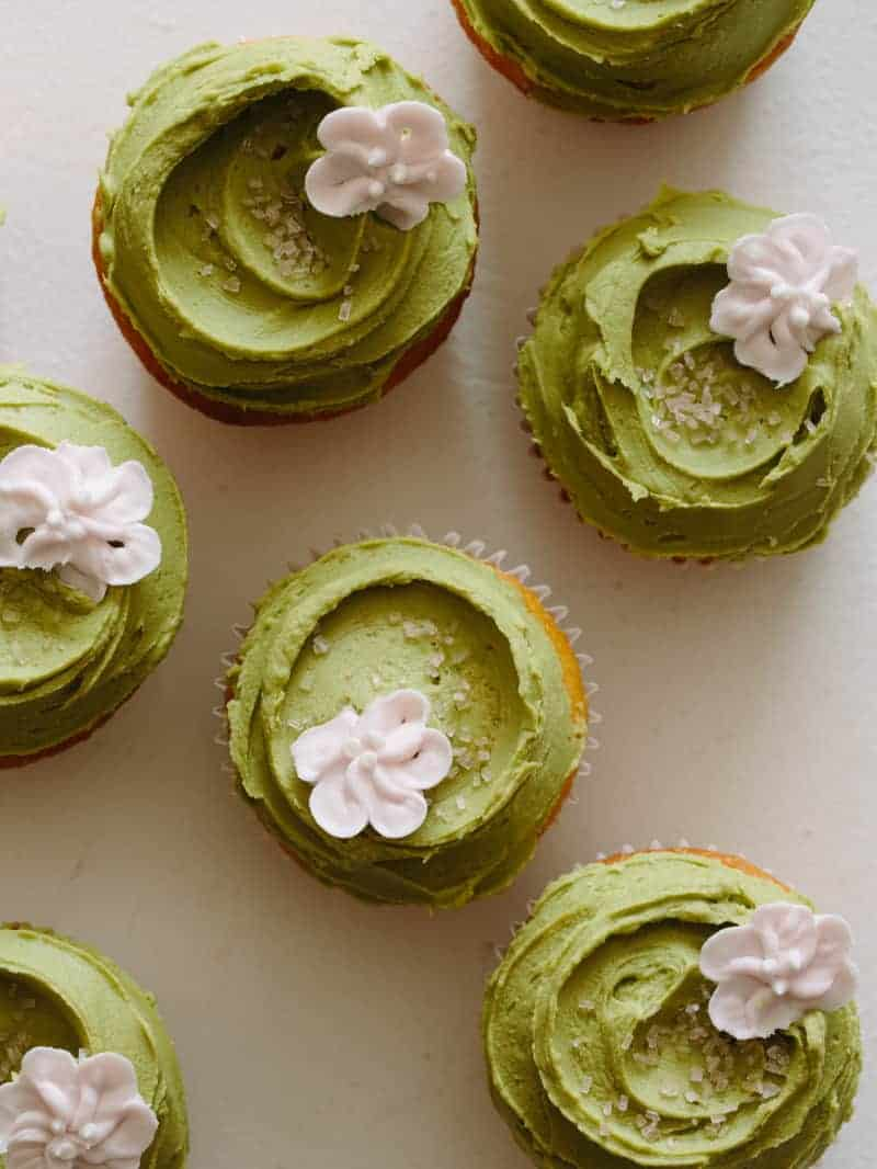 Vanilla Orange Cupcakes With Matcha Buttercream