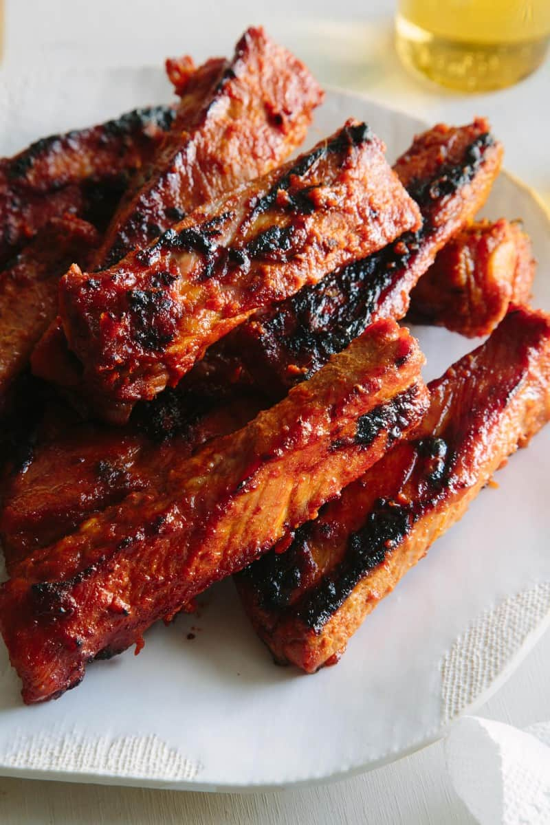 A close up of spicy marinated and grilled spare ribs.