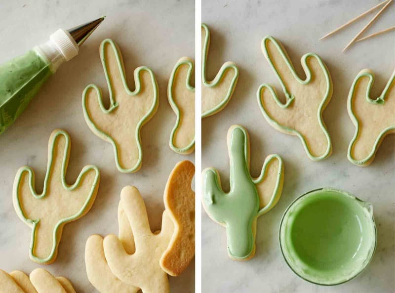 Split photo of cactus cookies being finished with green frosting and a piping bag.