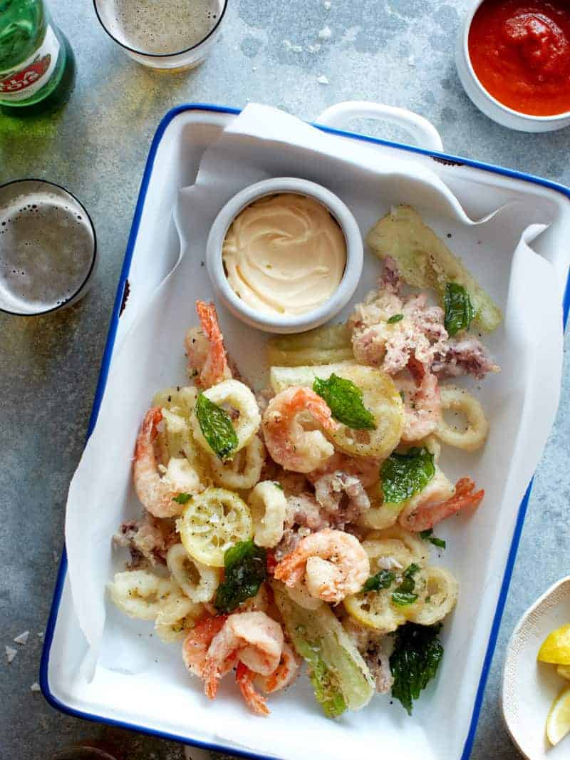 Fritto misto with a side of garlic lemon aioli and beer.