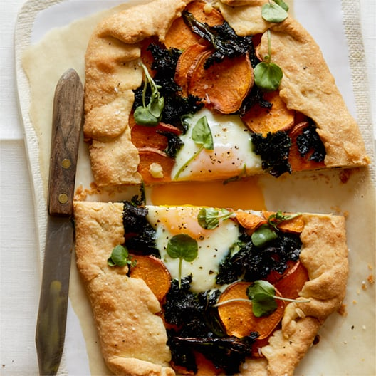 sweet potato and kale galette spoon fork bacon