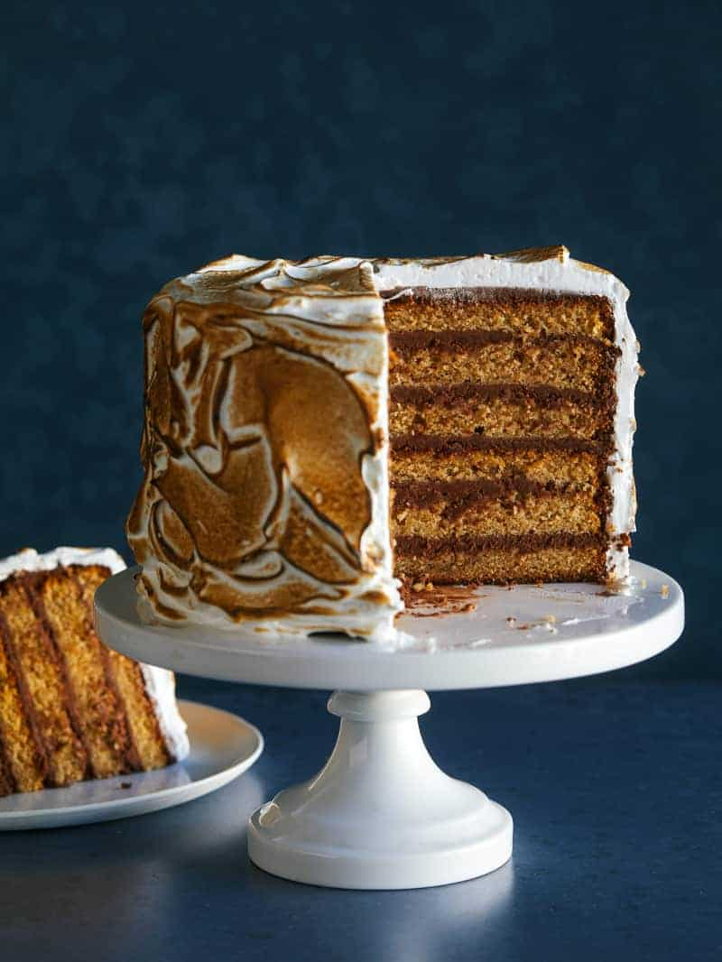 Six Layer S Mores Cake Spoon Fork Bacon