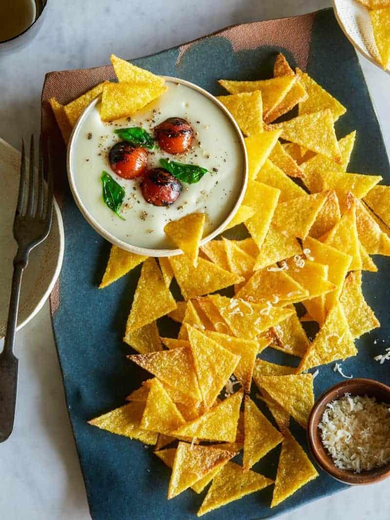baked_polenta_chips_Mozarella_dip