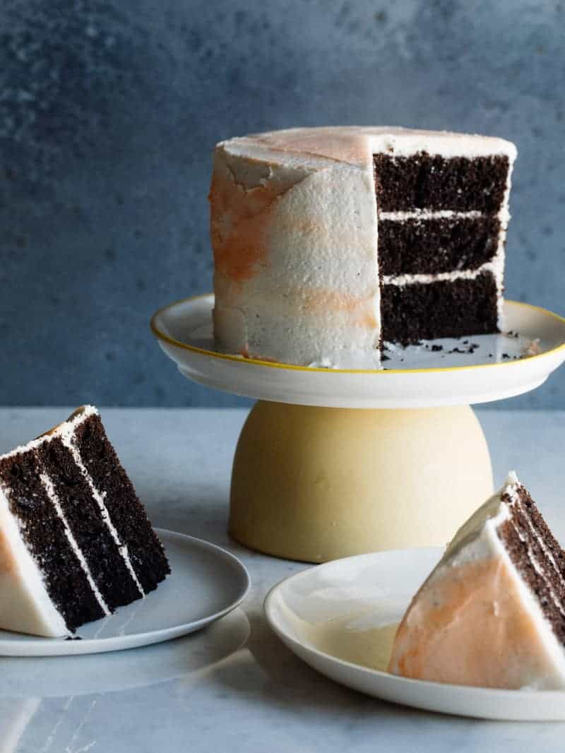 Black Cocoa Devil's Food Cake with Marbled Buttercream