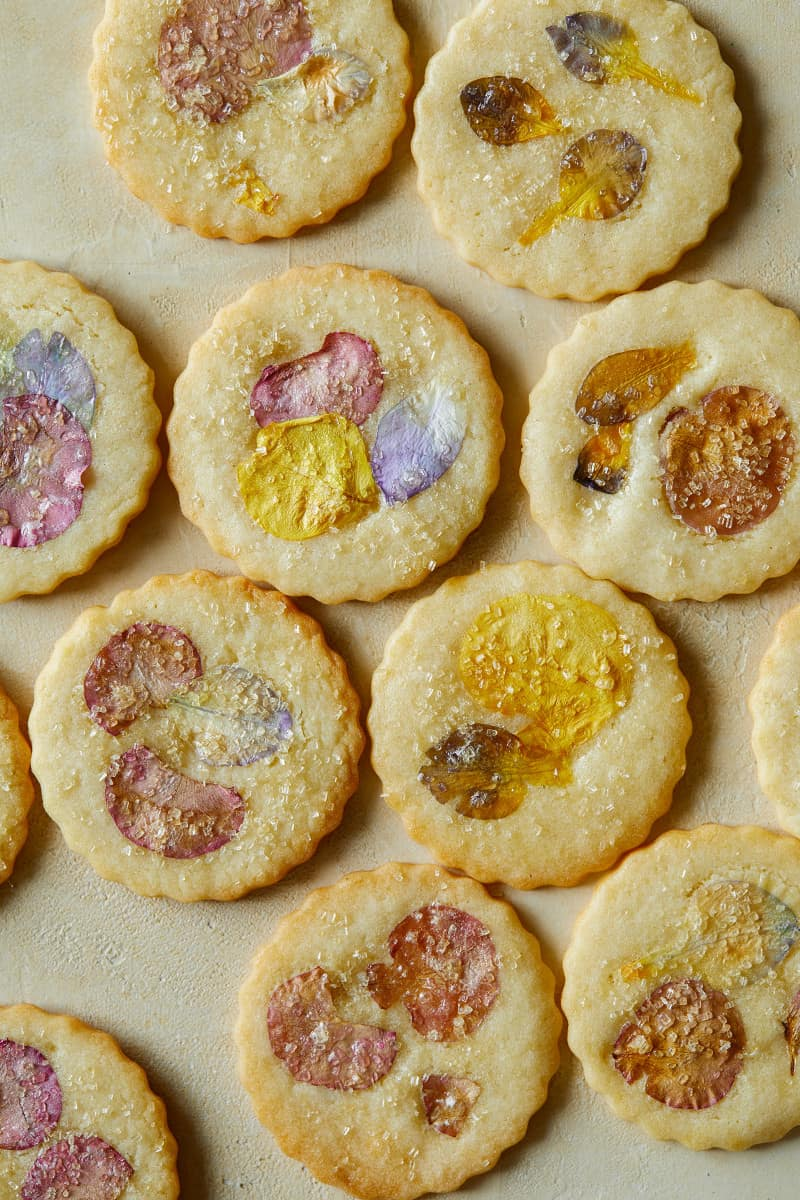 A close up of floral pressed butter cookies.