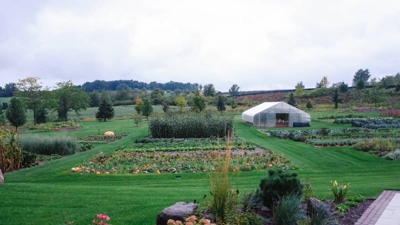 A lush garden and greenhouse.