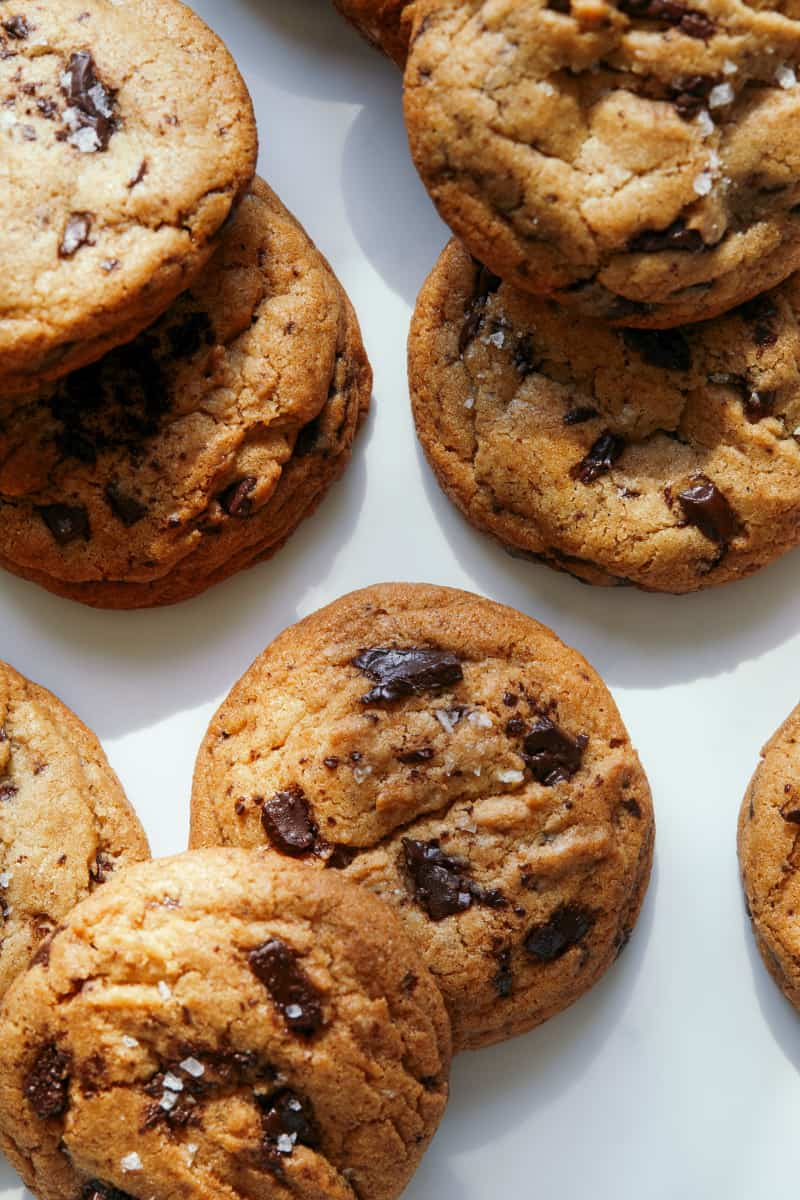 A close up of salted brown butter chocolate chips cookies.