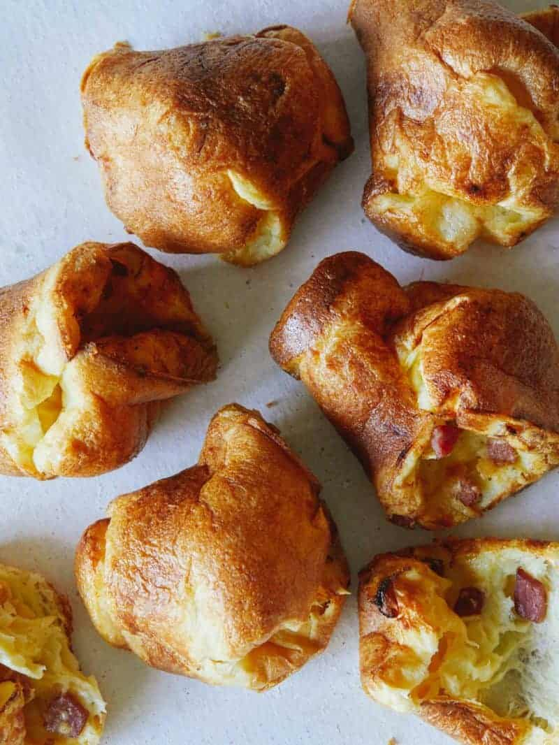 A close up of ham and cheese popovers.