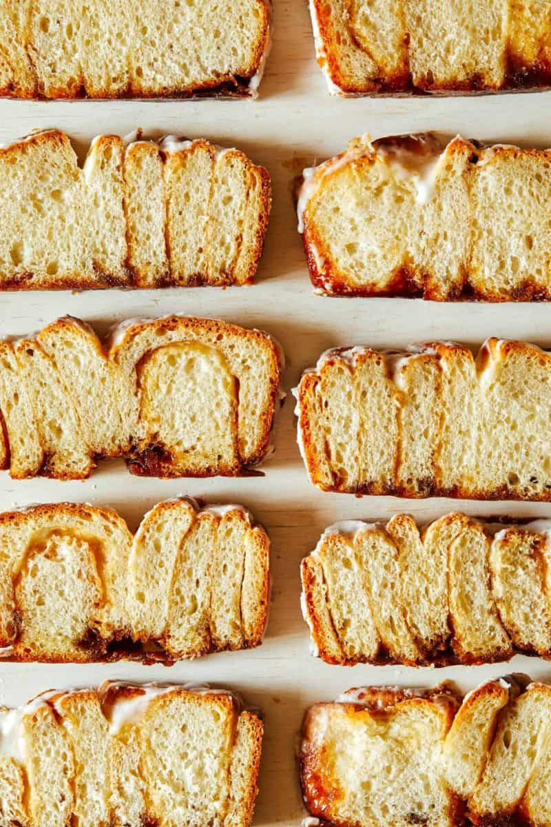 A half a dozen cinnamon roll loaf slices.