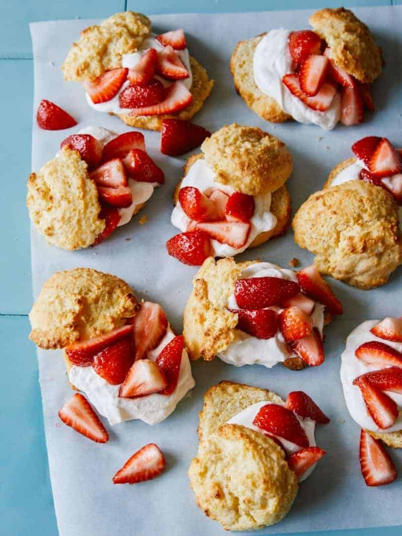 Cornmeal drop biscuit strawberry shortcakes.