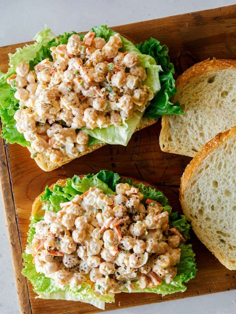 Open faced chickpea salad sandwiches.