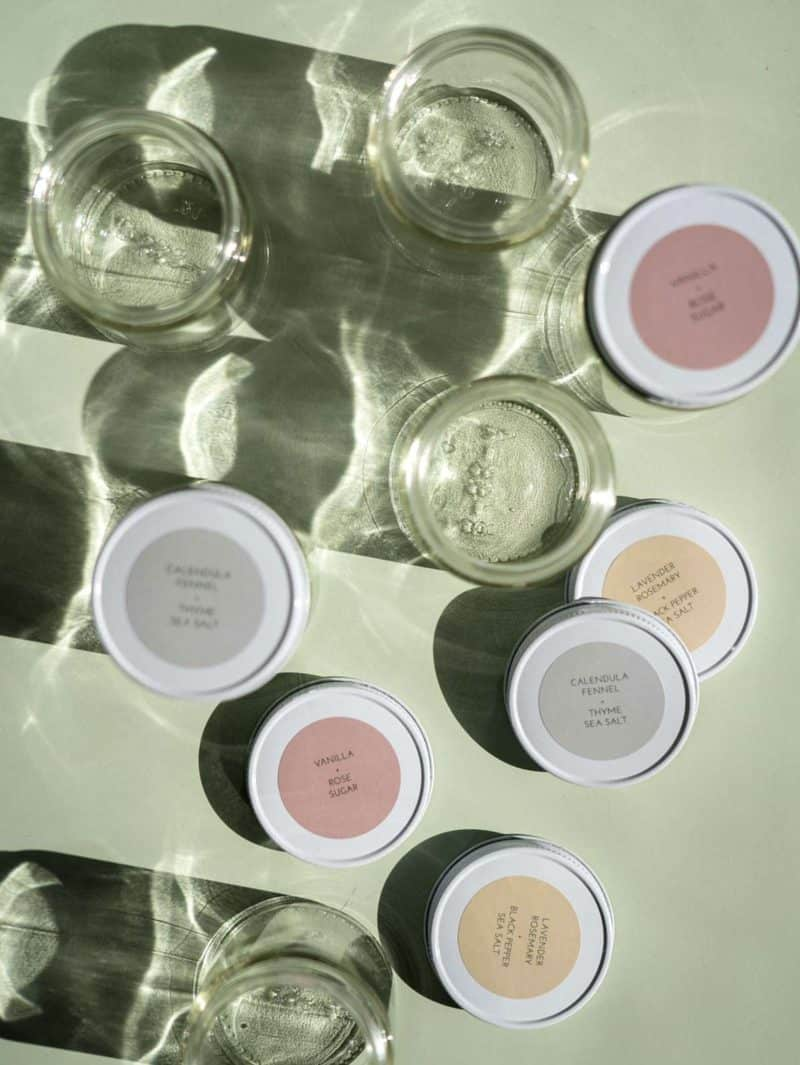 Jars and lids with printed labels.