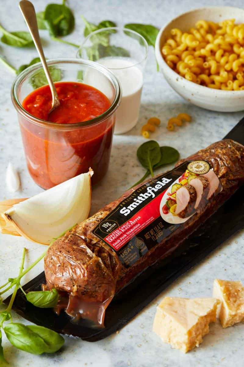 Smithfield pork in package with tomato sauce and onion.