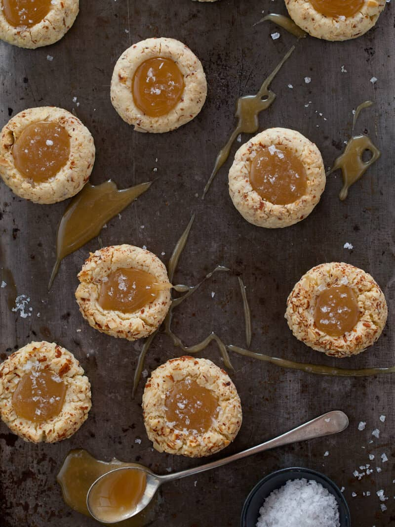 A recipe for Salted Caramel Thumbprint Cookies.