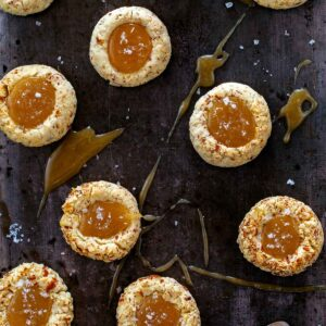Salted Caramel Thumbprint cookies up close.