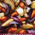 A close up on a sheet pan with roasted root vegetables.