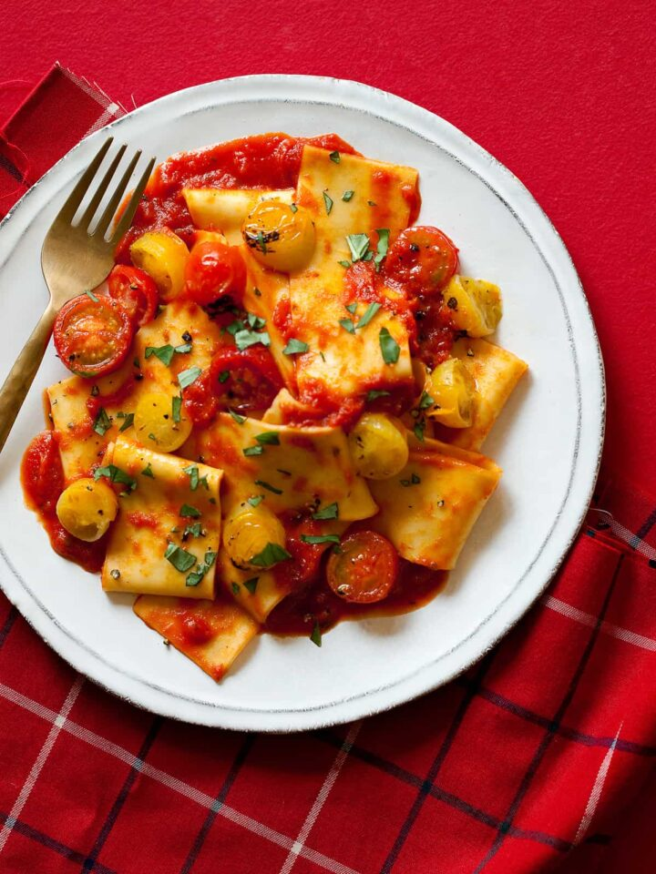 A recipe for Pappardelle Pasta with a roasted cherry tomato sauce.