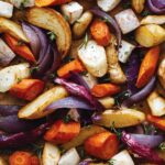 A recipe for aromatic roasted root vegetables up close.