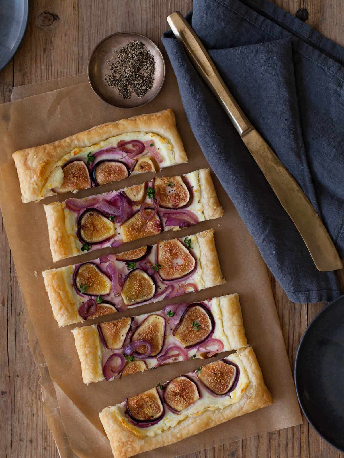 A recipe for a Fig Tart with Caramelized Red Onions