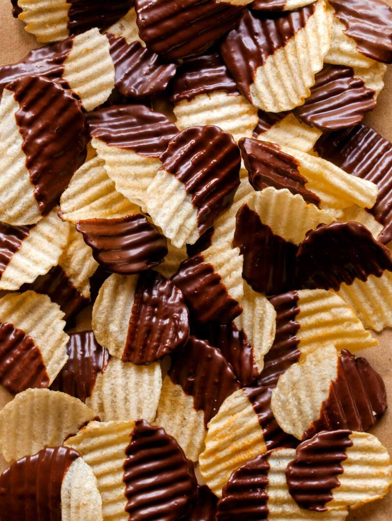 A close up of chocolate covered potato chips.
