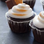A close up of s'mores cupcakes.